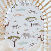 Fitted Bassinet Sheet | Change Pad Cover - Safari