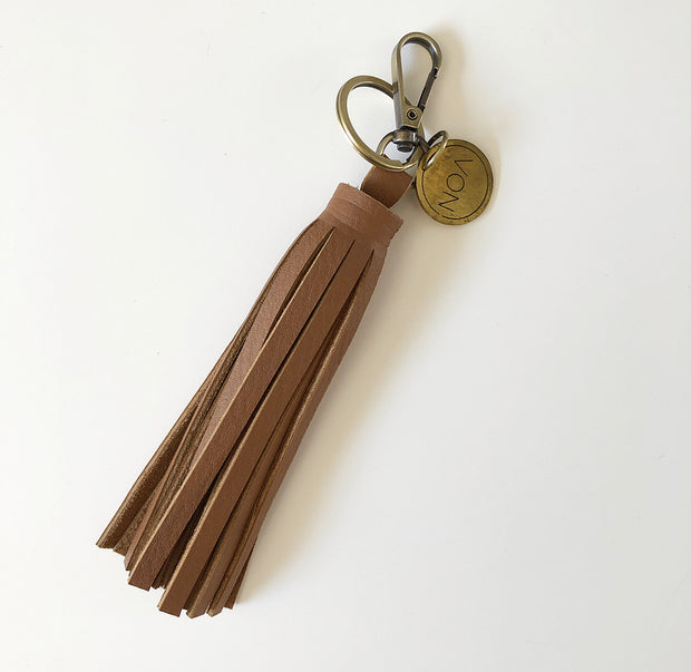 TASSLE KEYRING - Tan Leather