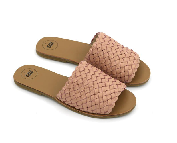Willow Weave Mummy Slides - Dusty Pink