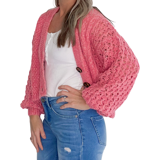 Pearl Cropped Cardigan - Raspberry