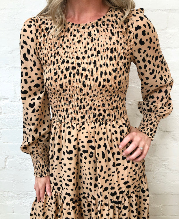 Phoenix Dress - Peach Cheetah