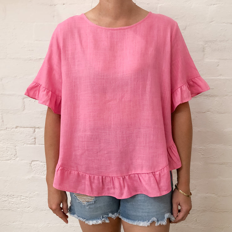 Del Linen Top - Bubblegum
