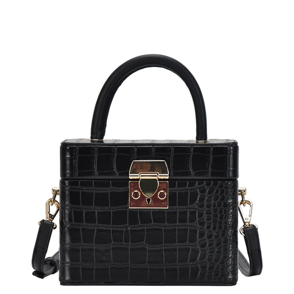 Crocodile Skin Box Cross Body Bag - Haute Lava