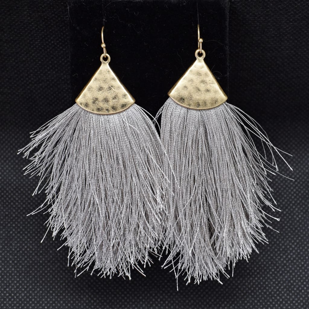 Gray Feather Drop Earrings - Haute Lava
