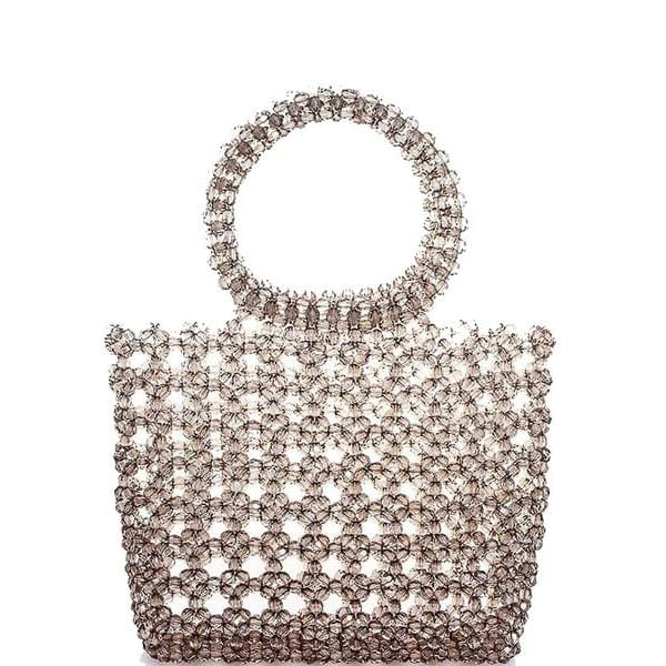 Smooth Multi Beaded Material Handbag - Haute Lava
