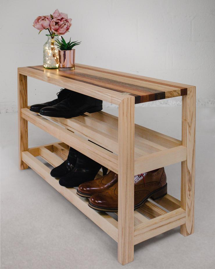 Contemporary Handmade Wooden Shoe Rack and Bench