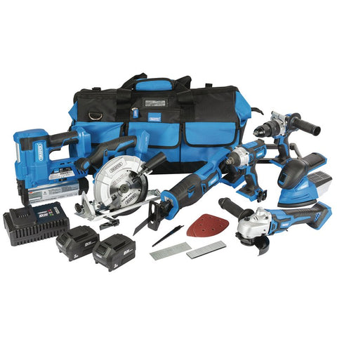 Draper D20 20V - Jumbo 7 Piece Kit + 1 X 3AH Battery, 1 X 5AH Battery, Charger and Wheeled Tool Bag