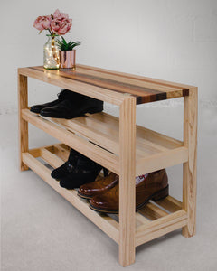 Contemporary Wooden Shoe Rack and Bench
