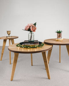 Set of Three Round Tables, Oak and Walnut