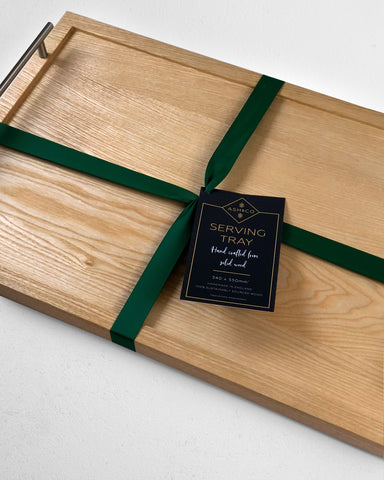 Large Wooden Tray with Stainless Steel Handles
