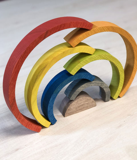 Make your own stacking wooden rainbow from solid Ash and Osmo oils