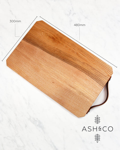 Large Wooden Chopping Board with Leather Handle