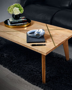 Geometric Coffee Table, Solid Ash with Brass Inlay