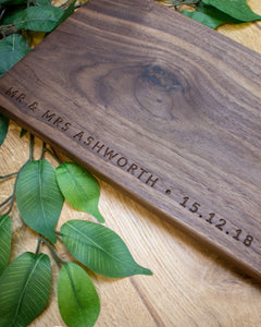 Minimalist handmade walnut cheese board with optional personalisation