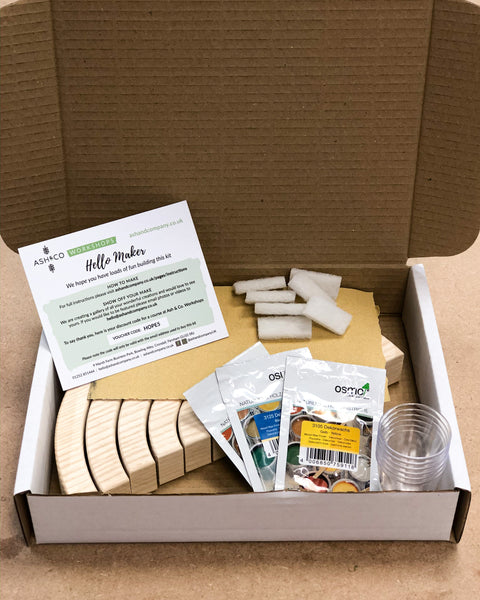 Wooden rainbow making craft kits with Osmo oil wood finish