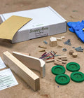 Ash & Co. Workshops Bonnie & Cylde scrappy races contents of wooden car building project kit