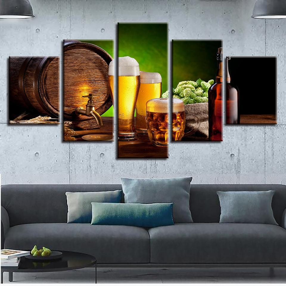 Kitchen Beer And Wine Glass Oak Barrels Restaurant - Wine Canvas ...