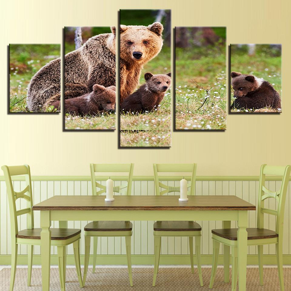 Animal Brown Bears Family - Animal Canvas Wall Art – Canvas Storm