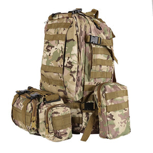 55L Molle Combination Backpack Hiking Camping Mountaineer Military Backpack Outdoor Bag Tactical Trekking Rucksack Backpack Camo