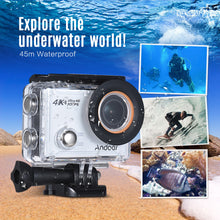 "Load image into Gallery viewer, Andoer AN100 4K WiFi Action Sports Camera 30MP 1080P/120fps 2.0"" IPS Screen 170° Wide Angle Waterproof 45m Support Gyro G-sensor FPV External Mic with Hard Case"