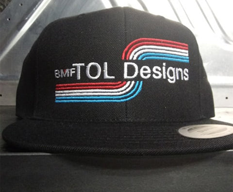 Image of TOL Designs Black BMF Embroidered Flat Bill Snapback