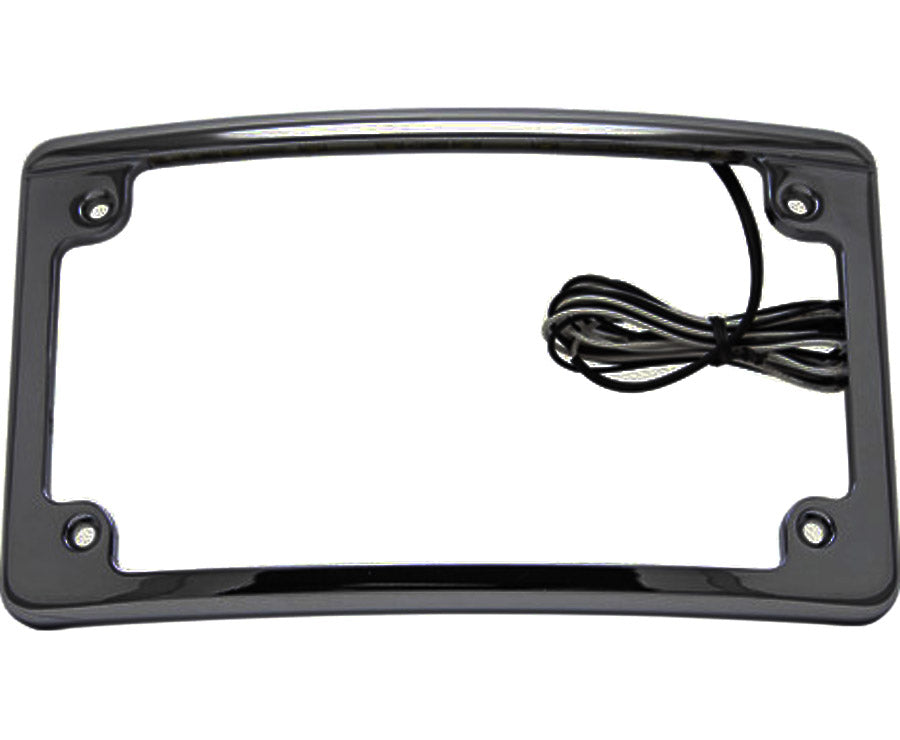 Black Motorcycle License Plate Frame Features White LED Lights