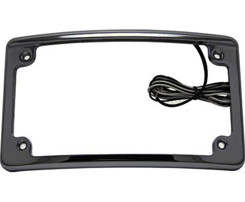 Image of Black Motorcycle License Plate Frame Features White LED Lights