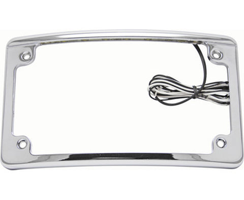 Image of Chrome Motorcycle License Plate Frame Features White LED Lights