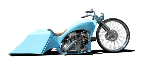 Custom builder TOL Designs Baby Blue Steel Big Wheel Bagger Lowrider Motorcycle Las Vegas