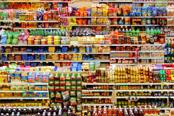 An overview of different aisles in a supermarket