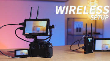FEELWORLD F5 PRO 5.5 '' Touch-Kamera-Monitor-Setup mit Hollyland Wireless Transmitter