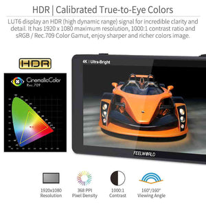 FEELWORLD LUT6S 6 Inch 2600nits HDR/3D LUT Touch Screen DSLR Camera Field Monitor 3G-SDI 4K HDMI
