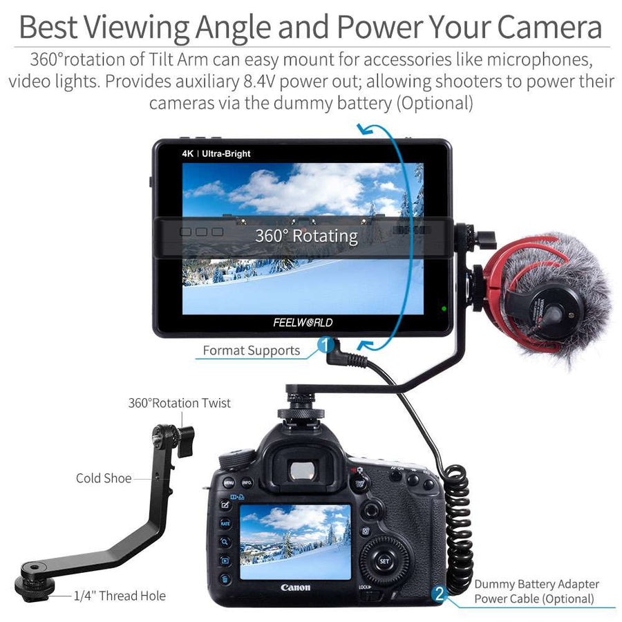 camera field monitor tilt arm