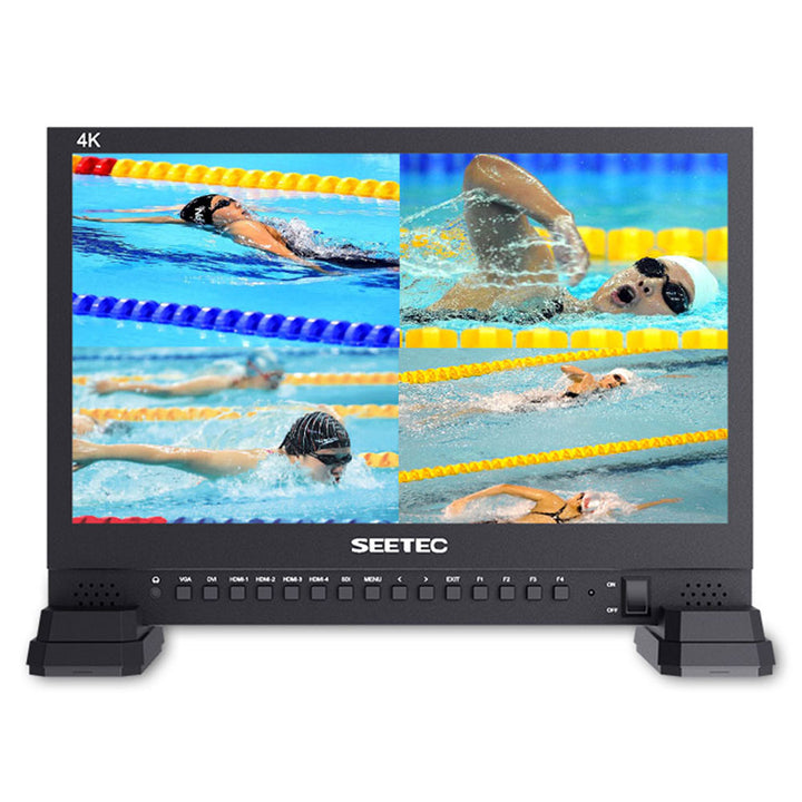 "SEETEC 15.6"" 4K Broadcast Monitor with IPS UHD 3840x2160 4xHDMI Quad Split Display"