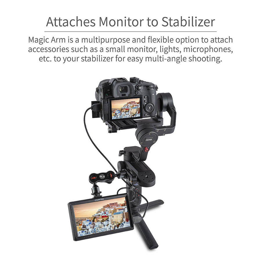 "FEELWORLD Articulating Magic Arm with Double Ballheads 1/4"" Screw Monitor Mount"