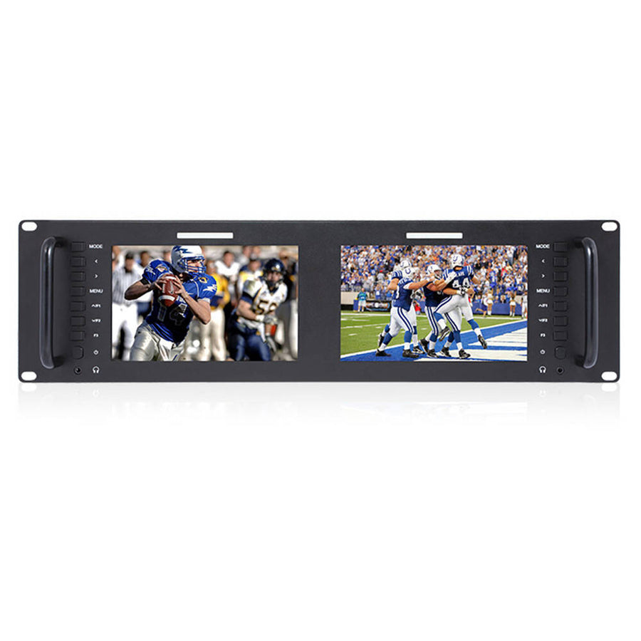 FEELWORLD D71 Dual 7 Inch 3RU Broadcast SDI Rack Mount Monitor IPS 1280x800 HD LCD Screen 3G SDI HDMI AV Input and Output