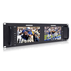 FEELWORLD D71 Dual 7 Inch 3RU Broadcast SDI Rack Mount Monitor IPS 1280x800 HD LCD Screen 3G SDI HDMI AV Input at Output