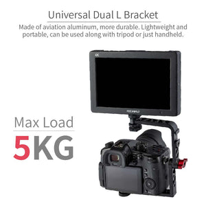 FEELWORLD Universal Mirrorless Camera L Bracket Cage Mount, Tilt Arm สำหรับจอภาพ 7 นิ้ว