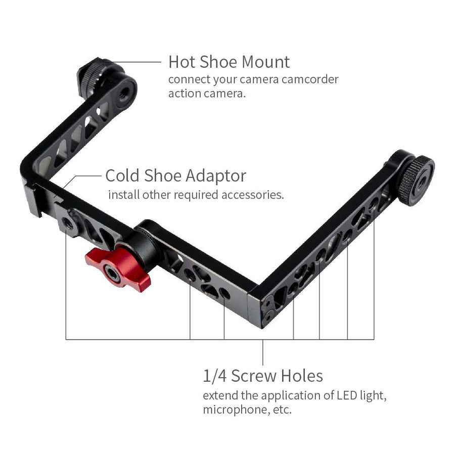FEELWORLD Universal Mirrorless Camera L Bracket Cage Mount, Tilt Arm for 7 inch Monitor