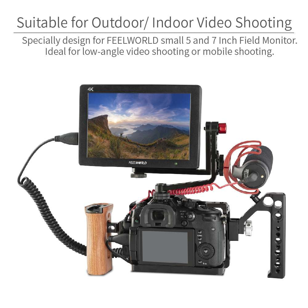 Swivel Tilt Arm for 7 inch Field Monitor with 1//4 Screw Cold Shoe Versatile Handheld for DSLR Vlogger Video Shooting FEELWORLD Universal Mirrorless Camera L Bracket Cage Mount