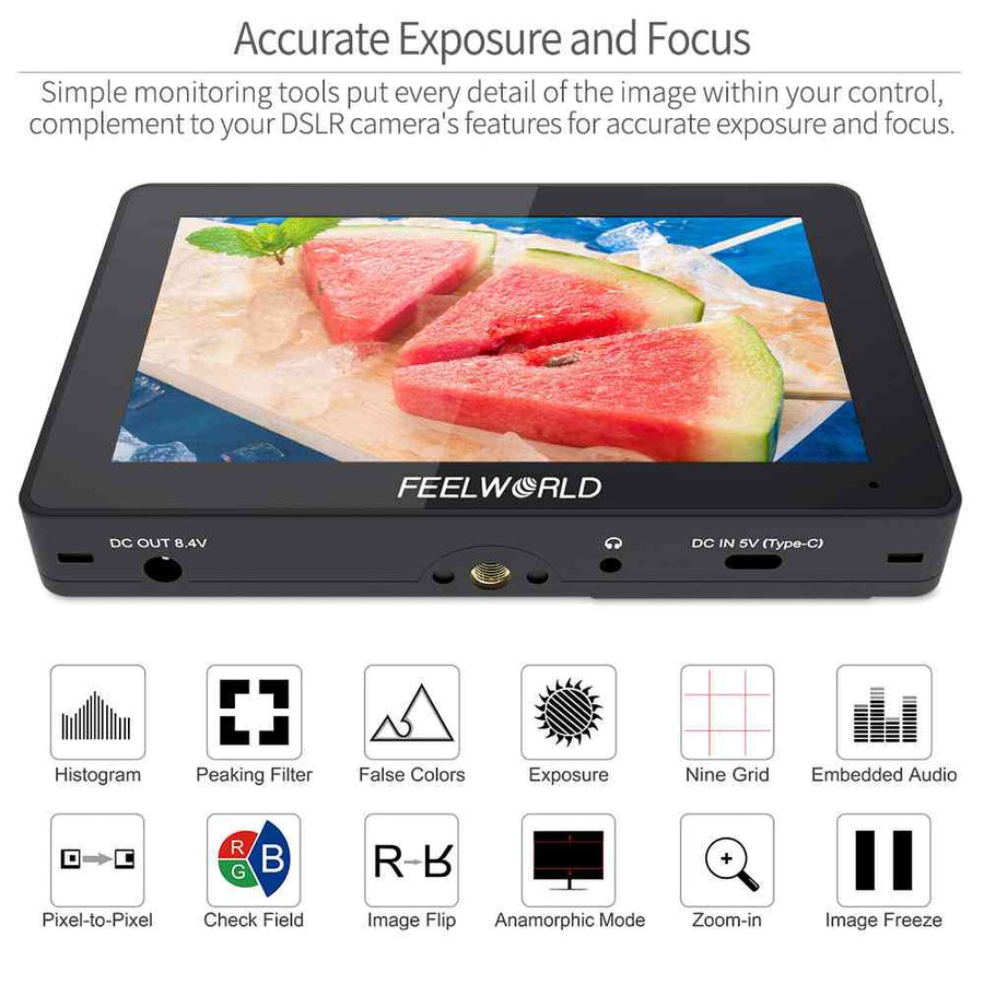 FEELWORLD F5 Pro 5.5 Inch Touch Screen DSLR Camera Field Monitor with External Kit