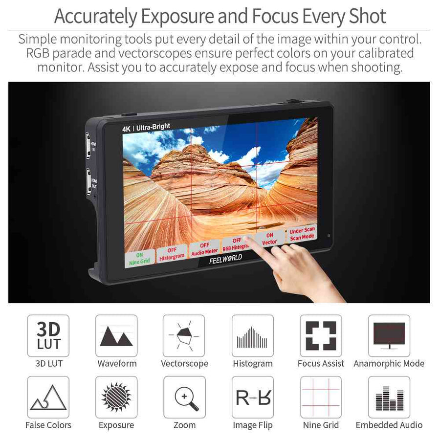 "FEELWORLD LUT6 6"" 2600nits HDR/3D LUT Touchscreen DSLR Camera Field Monitor with Waveform 4K HDMI"