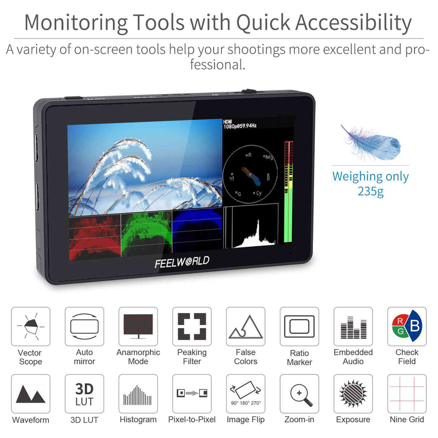 FEELWORLD F6 PLUS 5.5 pulgada maliit na Touch Screen 3D LUT Camera DSLR Field Monitor 1920x1080 HD 4K HDMI