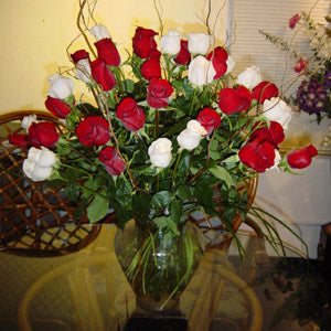 A Passionate Four Dozen Roses- Red & White