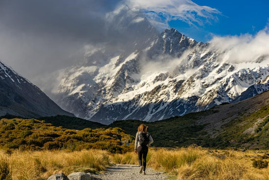 Hiker and mountains NZ