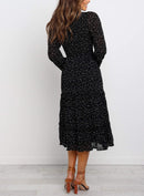 Polka Dot Print Ruffled Midi Dress In Black