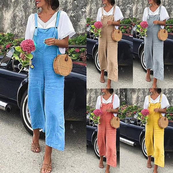 Linen Casual Strap Solid Color Jumpsuit