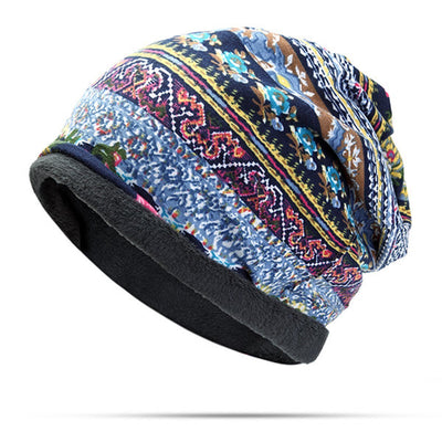 Women Useful Cotton Print Stripe Beanie Hat Outdoor Windproof For Both Head And Neck Warmer Snow Hat