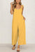Casual Solid Color Sleeveless Belted Loose Jumpsuit