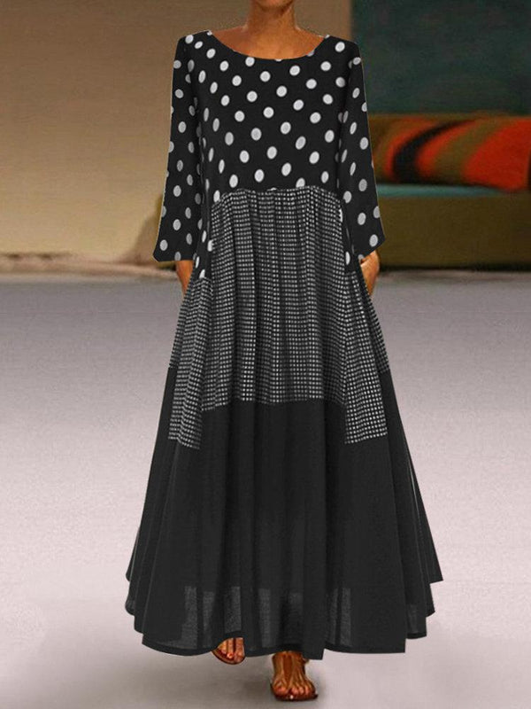 Casual Polka Dots Patch Plaid Long Sleeve Dress